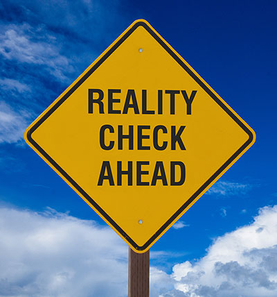 Reality Check Cautions Sign Image